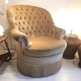 Vintage fauteuil velvet beige groen | Sprinkel + Hop