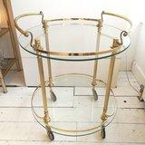 Vintage ronde bar cart serveerwagen goudkleurig_