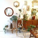 Vintage teak houten ronde spiegel | Sprinkel + Hop
