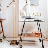 Bar cart serveerwagen formica wit bruin | Sprinkel + Hop