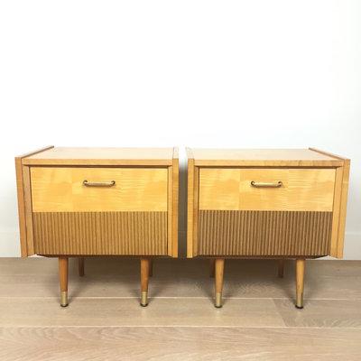 Jaren 50 houten nachtkastjes