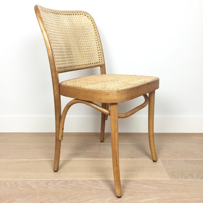 Vintage webbing Praag stoel Bentwood 811 voor Thonet (2)