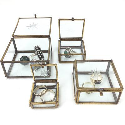 Set van 4 messing glazen doosjes