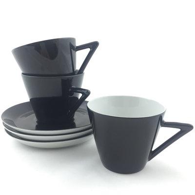 Set van 3 kopjes en schotels zwart