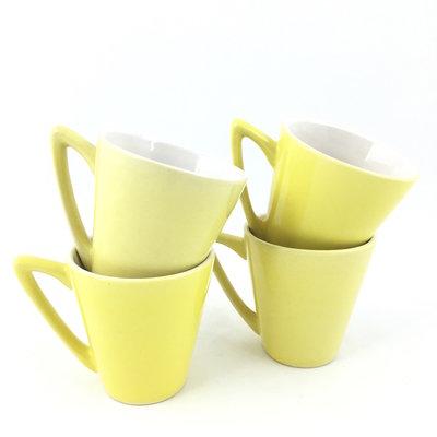Set van 4 funky koffiekopjes geel