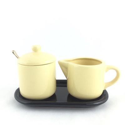 Suiker en melk setje pastel geel