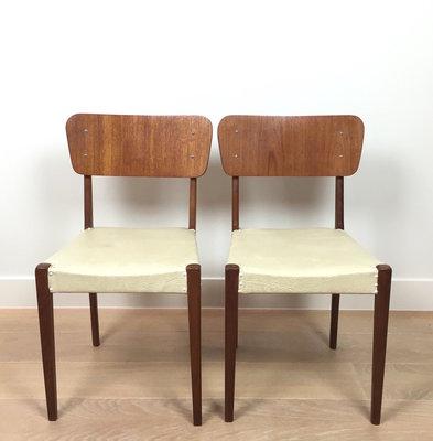 Vintage teak houten stoelen wit skai