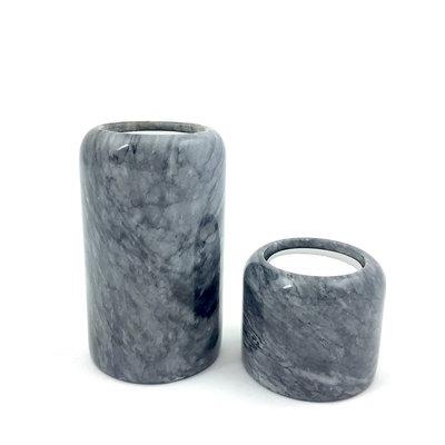 Set marmeren waxinelichthouders grijs