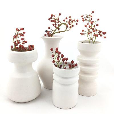 Set vintage Flora Gouda Holland vaasjes wit