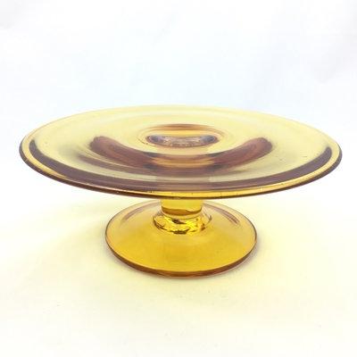 Vintage glazen taartplateau geel