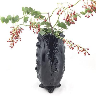 Vaas / Bloempot zwart bladeren XL