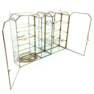 Messing glazen vitrinekastje 2 deurtjes