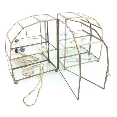 Set van twee mini messing glazen vitrinekastjes hemel