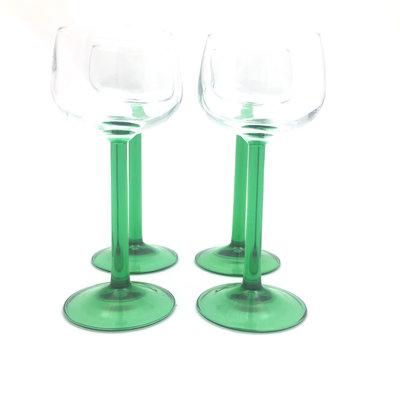 Set Franse wijnglazen groen