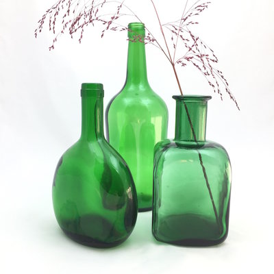 Set glazen flesvazen groen