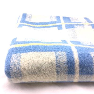 Dunne vintage wollen deken blauw geel 175 x 205