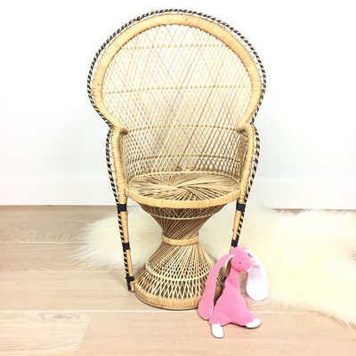 Vintage rotan Kinder Peachock chair Pauwenstoel