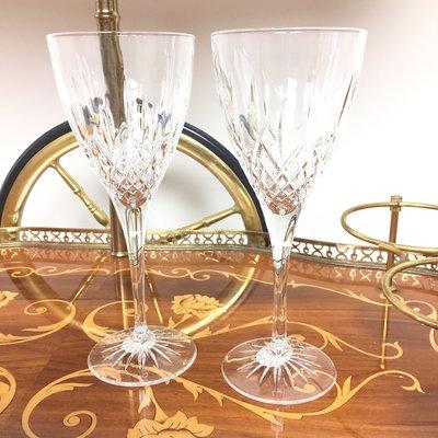 Set van 2 kristallen wijnglazen