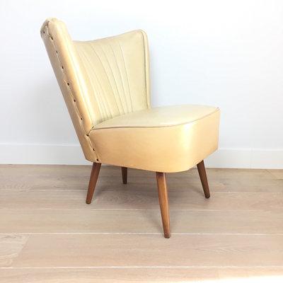 Jaren 50 cocktail stoel fauteuil ecru skai leer