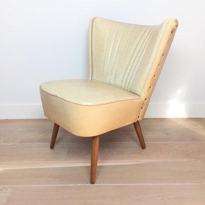 Jaren 50 cocktail stoel fauteuil ecru skai leer - 2