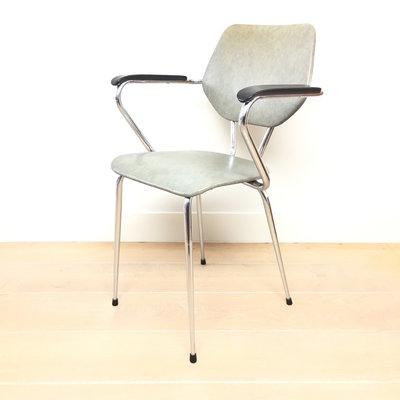 Vintage metalen stoel chroom groen grijs skai leer
