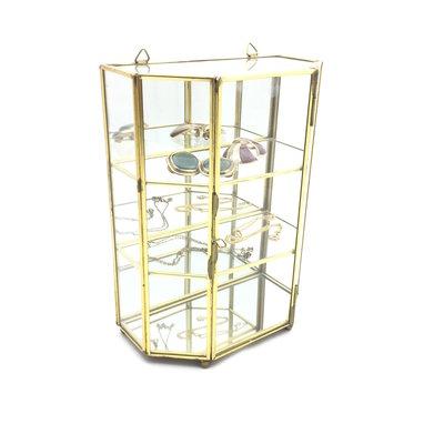 Vintage glazen mini vitrinekastje messing
