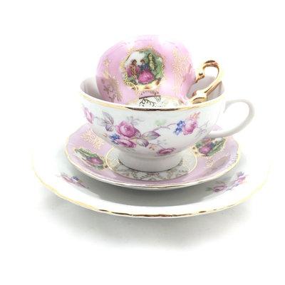 Vintage Thun en Marie Antoinette kop en schotel - roze