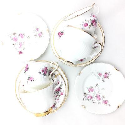 Vintage high tea set bloemen roze
