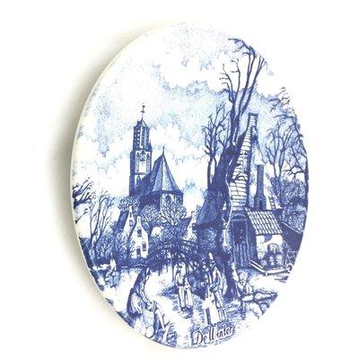 Wandbord Delfts blauw - Chemkefa - seizoen De Winter