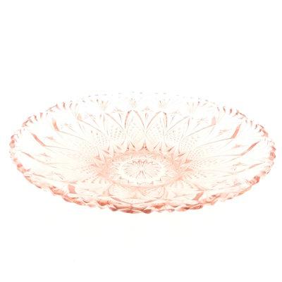 Art Deco glazen schaal roze persglas