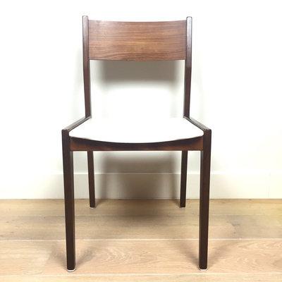 Teak houten stoel wit skai