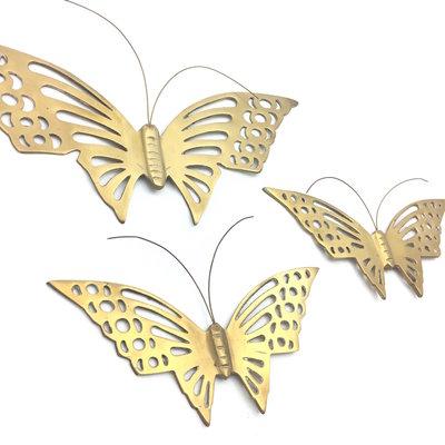 Set messing vlinders voor aan de wand