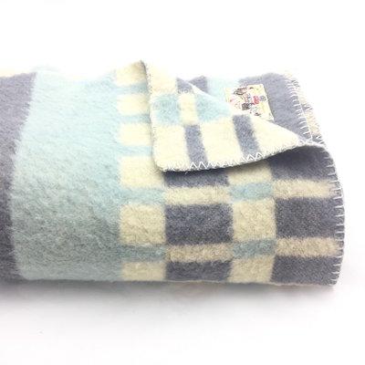 Vintage Aabe wollen deken blauw 135 x 205