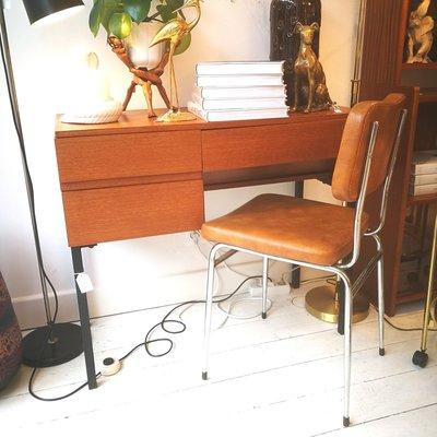 Bruine stoel skai leer chroom
