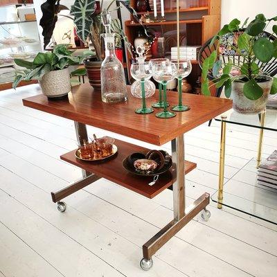 Vintage houten bijzettafel televisietafel