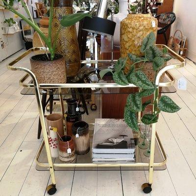 Vintage goudkleurige bar cart trolley serveerwagen