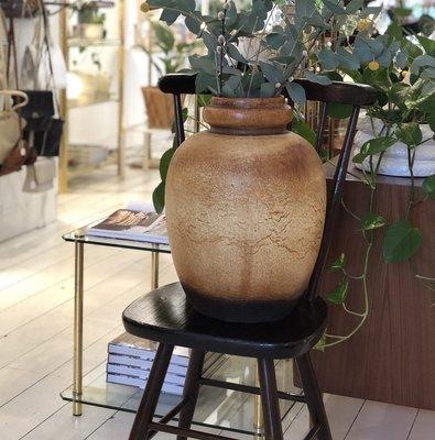Vintage houten spijlen stoel donker bruin
