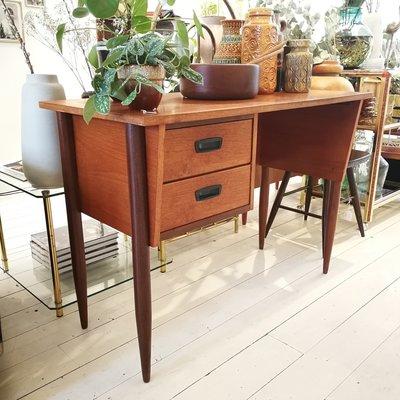 Vintage teak houten bureau 2 lades