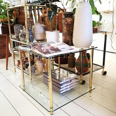 Glazen salontafel bijzettafel messing buisframe