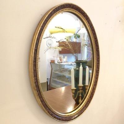 Ovale spiegel bruin goud