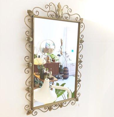 Sierlijke messing spiegel rechthoekig