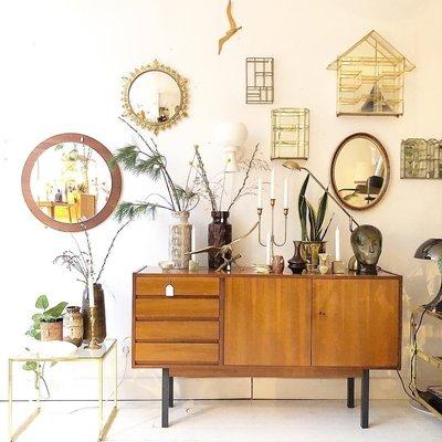 vintage houten dressoir lades deur