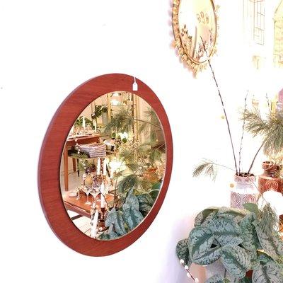 Vintage teak houten ronde spiegel
