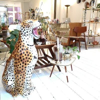 Vintage keramieken luipaard cheeta tijger