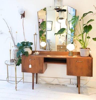 Vintage teak houten kaptafel spiegel