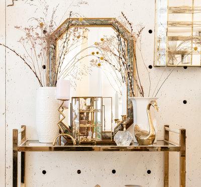 Facet geslepen spiegel bloemen