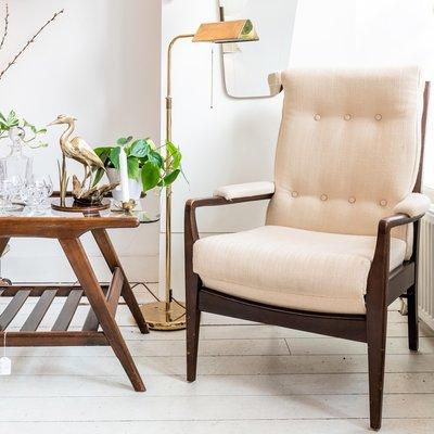 Vintage stoffen stoel fauteuil wit crèmekleurig