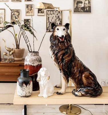 Vintage keramieken schotse collie hond