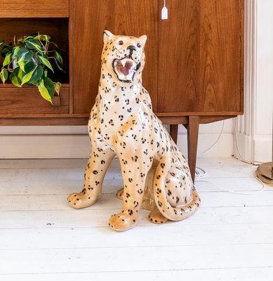 Vintage keramieken luipaard tijger 75 cm hoog
