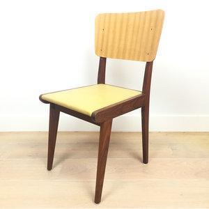 Vintage houten eetkamerstoel geel skai